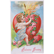 SOLD Valentine's Day Post Card Germany Embossed Cherub with Hearts