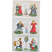 SALE Four Easter Postcards Dressed Chicks Same Series Germany Embossed