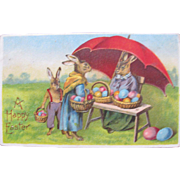 SALE Easter Post Card Dressed Rabbits Germany Embossed
