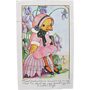 SALE Easter Post Card with Dressed Chick Holding Bible