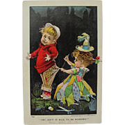 SALE Post Card with Young Children Married