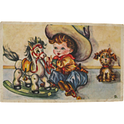 SALE Vintage Post Card with Little Cowboy and Rocking Horse