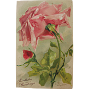 SALE Post Card of Roses by Catherine Klein Birthday Greetings Unused