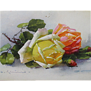 SALE Post Card Artist Signed Catherine Klein Roses