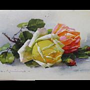 SALE Floral Post Card Artist Signed Catherine Klein Roses