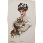 SALE Post Card Artist Signed Harrison Fisher with Glamour Girl and Cat