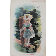SALE Post Card 1906 with Dutch Girl on Pier Unused