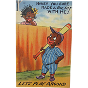 SALE Post Card Comical Black Americana Baseball Cutie