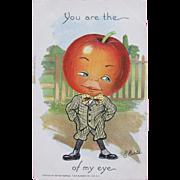 SOLD Unused Valentine's Day Post Card Artist Signed Dressed Fruit Tucks 1907