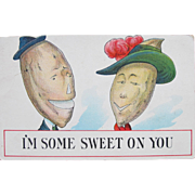 SALE Humorous Lovers Post Card Dressed Vegetables Comical