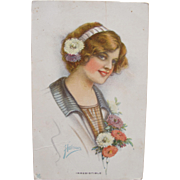 SALE Post Card Artist Signed Harrison Art Nouveau Glamour Girl