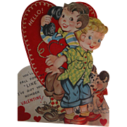 SALE Mechanical Valentine's Card Vintage 1930s Large Dog and Phones