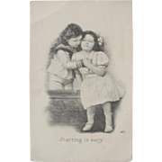 SALE Risque Postcard with Curious Children Black and White 1911