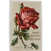 SALE Post Card Artist Signed Catherine Klein Red Roses for Birthday Greeting