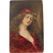 SALE Artist Postcard by Asti Italian Painter of Young Ladies