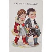 SALE Artist Signed Post Card Cute Couple Out on the Town