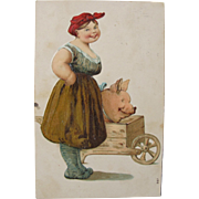 SALE Post Card of Pig in Cart with Lady