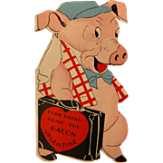 SALE Vintage Valentine's Card Pig Brings Home the Bacon