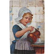 SALE Artist Signed Post Card Germany 1908 Dutch Girl by E. Louyox