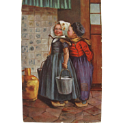 SALE Post Card with Dutch Children Printed in Germany