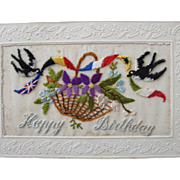 SALE French Post Card Hand Embroidered on Silk Birthday Greeting