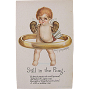 SALE Artist Signed Post Card by Evelyn Von Hartmann Cherub in Ring Boxing Unused