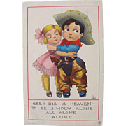 SALE Humorous Postcard Artist Signed by Wall Cowboy Cowgirl Children