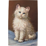 SALE Artist Signed Post Card of White Cat A. Lanyre
