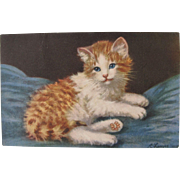 SALE Artist Signed Post Card of Kitten by A Lanyre