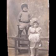 Postcard of Children in Sepia Tone 1910