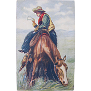 Cowboy Post Card with Horse 1908 Texas Bound
