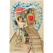 SOLD Valentine's Day Post Card Embossed Germany Train of Hearts