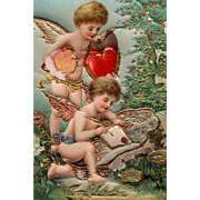 SOLD Valentine's Day Post Card Cherubs In Chromo Germany with Raised Heart