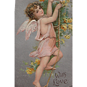 SOLD Valentine's Post Card with Cherub and Yellow Roses Frances Brundage
