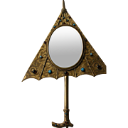 SALE Jeweled Wall Mirror or Hand Mirror in Shape of an Umbrella