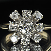 SALE 1.60 Vintage Cluster Diamond Ring / .56 Center / GIA Certified