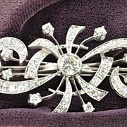 SALE 3.5 Carat Diamond Art Deco Style Brooch