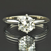 SALE 1.15 Carat Old European Cut Solitaire Diamond Engagement Ring