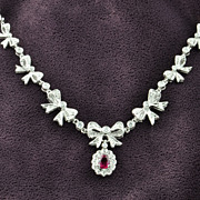 SALE 1.23 Carat Ruby and Diamond Necklace