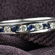 1 Carat Diamond and Sapphire Eternity Band