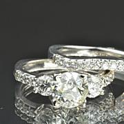 SALE 2.39 Carat Old European Cut Wedding Set/1.51 Center / CLEARANCE SALE!!
