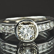 SALE 1.35 Carat Diamond Engagement Ring / .50 Center / CLEARANCE PRICED!!!