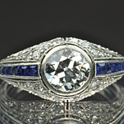 SALE 2.06 Diamond and Sapphire Deco Ring / 1 Carat Center