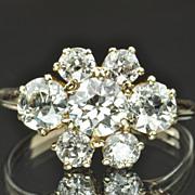 SALE 2.98 Carat Old European Cut Diamond Cluster Ring