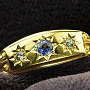 SALE Victorian Old Mine Cut Diamond and Sapphire Wedding Band