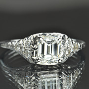 SALE 1.17 Edwardian Style Emerald Cut Diamond Engagement Ring / EGL Certified