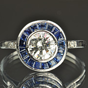 SALE 1.33 Carat Diamond and Sapphire Ring / .75 Center / CLEARANCE SALE!!