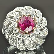 SALE 2.87 Carat Diamond and Pink Tourmaline Vintage Ring