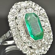 SALE 4.34 Carat Emerald and Diamond Ring