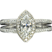 SALE 1.02 Carat Marquise Diamond Engagement / Wedding Ring / .71 Center / EGL Certified